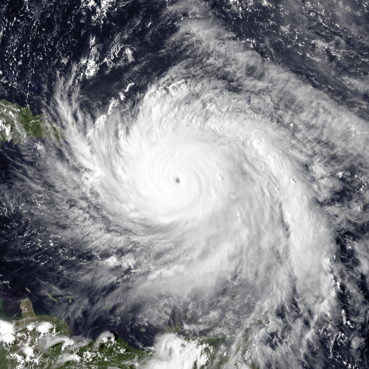 Hurricane Maria, the strongest hurricane of the season, just north of Dominica.